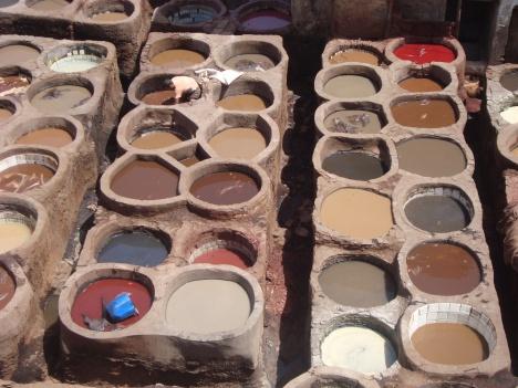 Curtiderías en la Medina de Fez